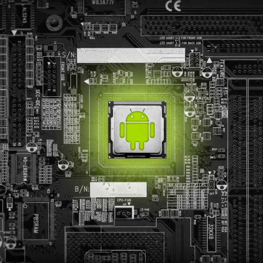 Background Micro Circuit Dengan Logo Android
